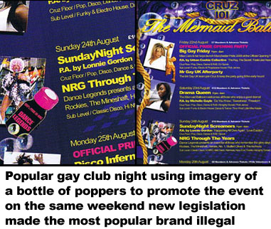 Popular gay club night glamourising imagery of a bottle of poppers to promote a club night on the same weekend the most popular brands became illegal